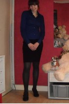 blue Only blouse - black new look skirt - gray unknown brand tights - black unkn