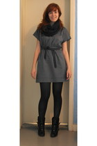 black SOliver boots - heather gray Mango dress - dark gray unknown brand tights