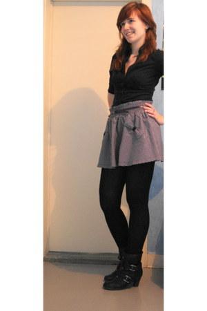 black SOliver boots - purple asos skirt - black H&M blouse