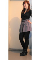 black SOliver boots - purple asos skirt - black H&M blouse