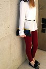 White-necessary-clothing-shirt-brick-red-zara-leggings-black-vintage-bag