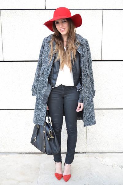 red floppy hat - heather gray coat - black leather jacket