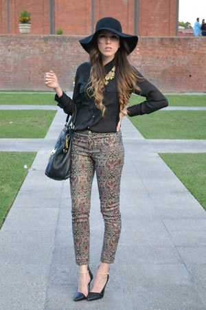 black Forever 21 blouse - baroque Zara pants - black Zara heels