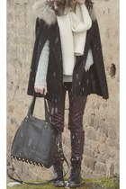 black River Island bag - black doc martens shoes - silver Roxy sweater