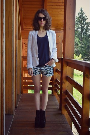 black Jeffrey Campbell heels - navy Mexx jacket - blue ba&sh shorts