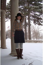 dark brown unknown brand boots - black H&M hat - heather gray Target tights - bl