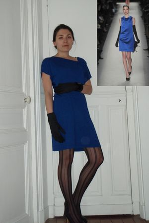 blue dress - black tights - black gloves - black shoes