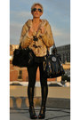 Faux-fur-coat-faux-leather-leggings-aviator-glasses-heels