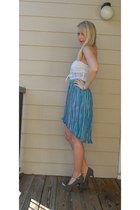 Turquoise-blue-fishtail-vintage-skirt