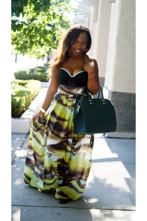 black Andrea Iyamah swimwear - forest green H&M bag - dark green znak skirt