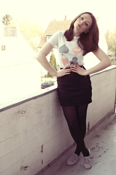 black H&M cardigan - white Placebo Band t-shirt - black H&M skirt - black H&M ja