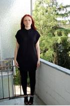 black Mango dress - black Graceland heels - silver DIY ring