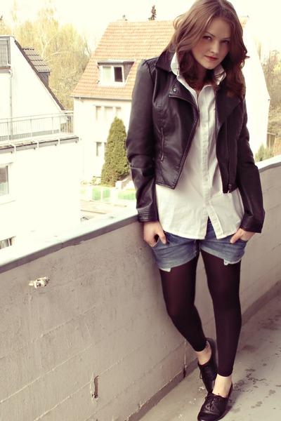black H&M jacket - white Esprit shirt - blue DIY shorts - black H&M shoes