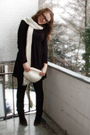 Black-esprit-dress-brown-soliver-boots-white-h-m-hat-white-h-m-scarf