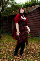 black second hand dress - navy Kickers boots - black veritas leggings