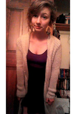 black flared skirt - purple tank top - earrings - knitted cardigan