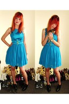 turquoise blue Primark dress - black brogues Primark heels