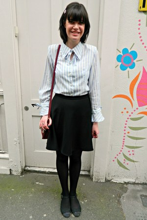 violet striped bow vintage blouse - black skater H&M skirt
