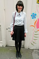 violet striped bow vintage blouse - black skater H&M skirt
