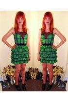 green tartan River Island dress - black Primark heels