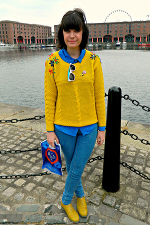 yellow brogues Primark shoes - sky blue skinny jeans Topshop jeans