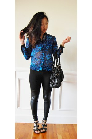 black Michael Kors shoes - black leggings - blue chiffon shirt - black bag