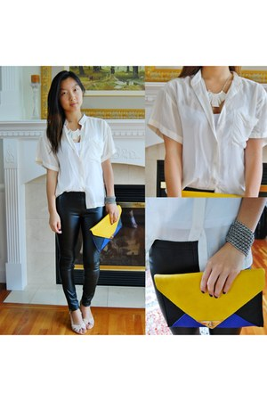 yellow color block Tobi bag - neutral heels asos shoes