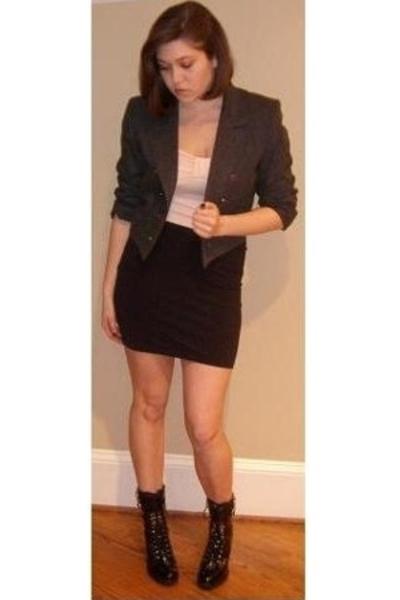 thrifted blazer - Ella Moss top - Wolford skirt - Kors by Michael Kors boots