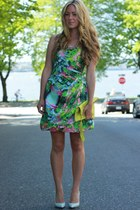 aquamarine bubble skirt Zara dress - chartreuse clutch Blair Ritchey bag