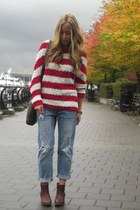 red knit Lumiere sweater - light blue boyfriend American Eagle jeans