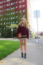 crimson knit Uniq sweater - black leather Aldo boots - camel striped H&M skirt