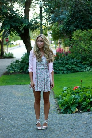 pink floral Club Couture dress - light pink blazer Zara blazer
