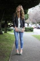 lime green wedge Aldo heels - gray leather Muubaa jacket