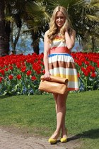 light brown clutch beginning boutique bag - red striped Forever 21 dress