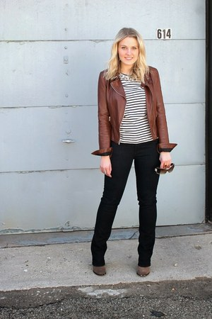 stripes JCrew blouse - BCBG boots - Paige Denim jeans
