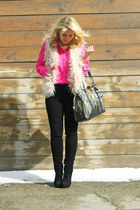 bubble gum Forever 21 vest - black madewell jeans - hot pink madewell shirt