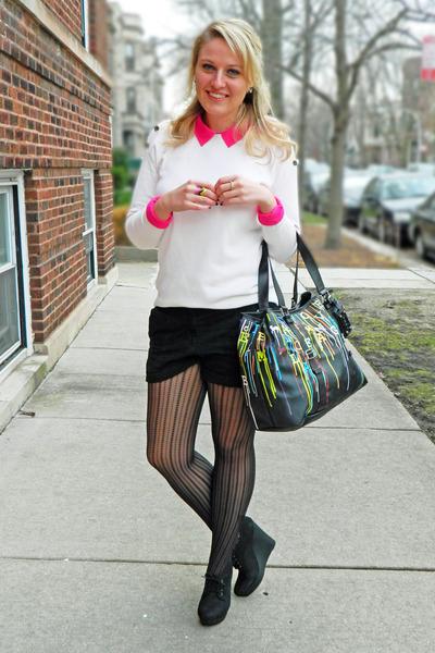 white JCrew sweater - hot pink madewell shirt - black Express tights - LAMB bag