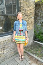 yellow Langford Market dress - blue Levis jacket - yellow Langford Market bag