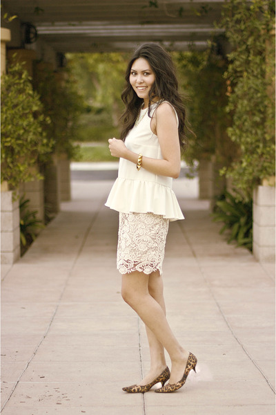 lace skirt - stud bracelet - peplum blouse - leopard heels