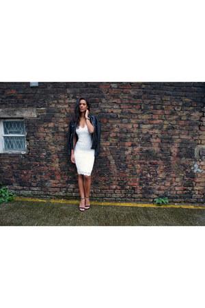 white Missguided dress - black The Kooples jacket - black Zara heels