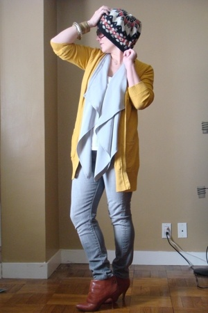 unknown brand hat - H&M sweater - my design vest - joes jeans - Jeffery Campbell