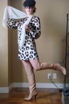 Zara dress - vintage boots - vintage scarf -  hat