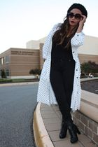 white vintage dress - black Forever 21 pants - black Forever 21 boots