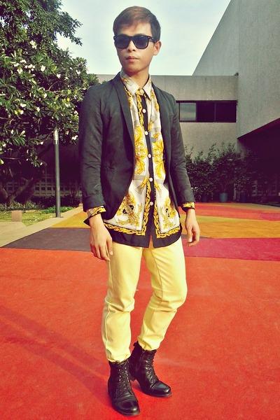 yellow yellow jeans versace jeans - black black blazer Oxygen blazer