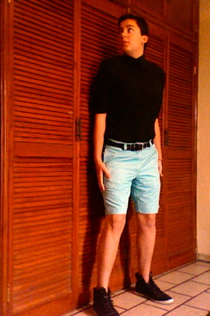 black Express Men shirt - american eagle outfitters shorts - black Zara shoes -