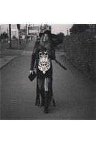 black Miss Sixty boots - River Island hat - black DSquared jacket