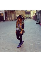 blue boots - blue Dr Martens boots - black River Island hat - black Givenchy bag