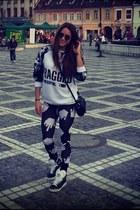 Lazy Oaf leggings - asos sunglasses - Adidas sneakers - ragged priest blouse