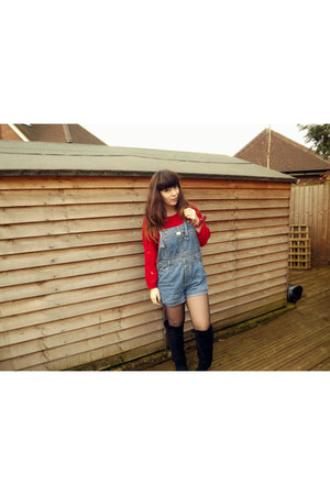 red Bershka jumper - black Primark boots - light blue vintage romper