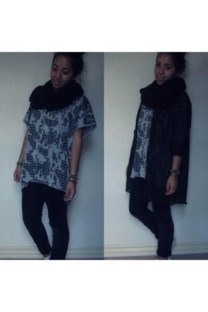 heather gray Vila t-shirt - black Cheap Monday jeans - black Cheap Monday shirt